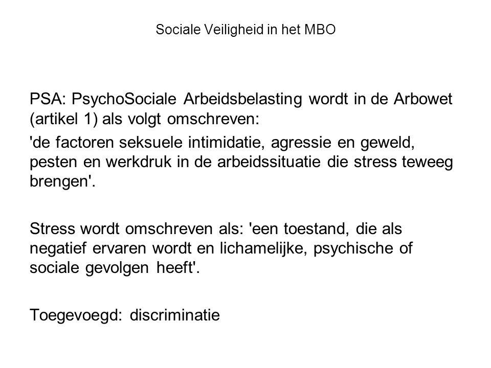 Sociale Veiligheid in het MBO PSA: PsychoSociale Arbeidsbelasting wordt in de Arbowet (artikel 1) als volgt omschreven: de factoren seksuele intimidatie, agressie en geweld, pesten en werkdruk in de arbeidssituatie die stress teweeg brengen .