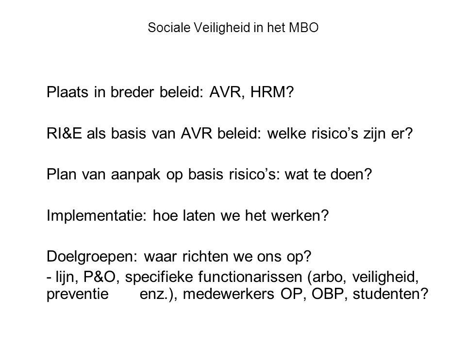 Sociale Veiligheid in het MBO Plaats in breder beleid: AVR, HRM.