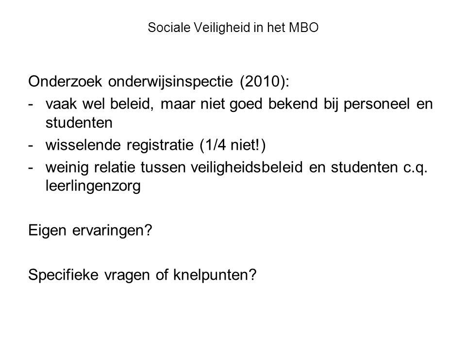 Sociale Veiligheid in het MBO Onderzoek onderwijsinspectie (2010): -vaak wel beleid, maar niet goed bekend bij personeel en studenten -wisselende registratie (1/4 niet!) -weinig relatie tussen veiligheidsbeleid en studenten c.q.