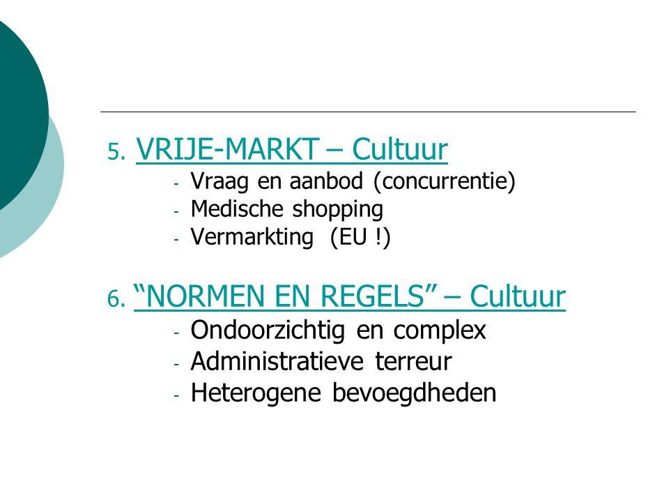 """5. VRIJE-MARKT – Cultuur - Vraag en aanbod (concurrentie) - Medische shopping - Vermarkting (EU !) 6. """"NORMEN EN REGELS"""" – Cultuur - Ondoorzichtig en"""