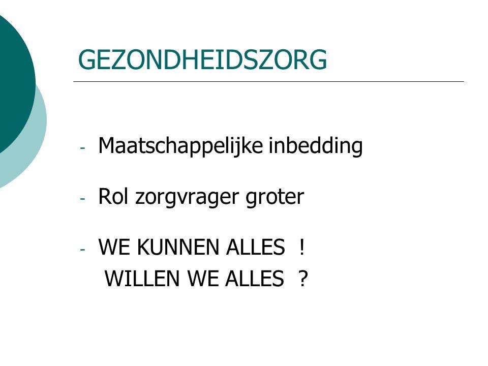 GEZONDHEIDSZORG - Maatschappelijke inbedding - Rol zorgvrager groter - WE KUNNEN ALLES .