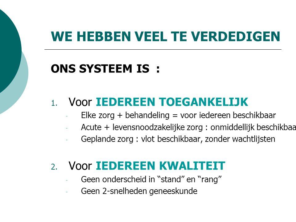 WE HEBBEN VEEL TE VERDEDIGEN ONS SYSTEEM IS : 1.