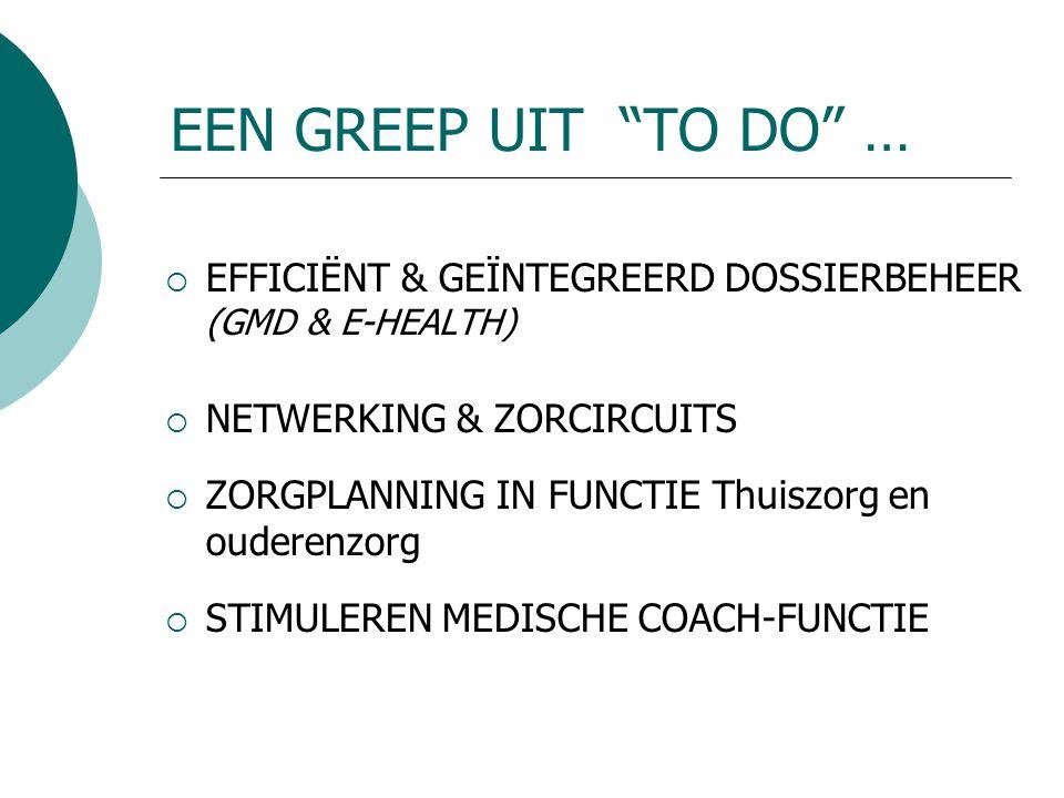 EEN GREEP UIT TO DO …  EFFICIËNT & GEÏNTEGREERD DOSSIERBEHEER (GMD & E-HEALTH)  NETWERKING & ZORCIRCUITS  ZORGPLANNING IN FUNCTIE Thuiszorg en ouderenzorg  STIMULEREN MEDISCHE COACH-FUNCTIE