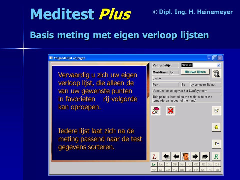 Meditest Plus  Basis meting met eigen verloop lijsten Vervaardig u zich uw eigen verloop lijst, die alleen de van uw gewenste punten in favorieten rij-volgorde kan oproepen.