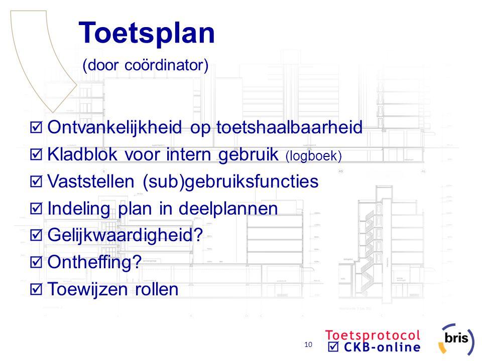 10 Toetsplan (door coördinator) Ontvankelijkheid op toetshaalbaarheid Kladblok voor intern gebruik (logboek) Vaststellen (sub)gebruiksfuncties Indelin