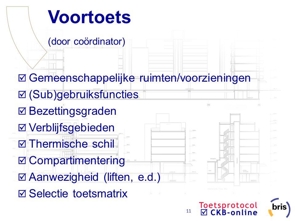 11 Voortoets (door coördinator) Gemeenschappelijke ruimten/voorzieningen (Sub)gebruiksfuncties Bezettingsgraden Verblijfsgebieden Thermische schil Com