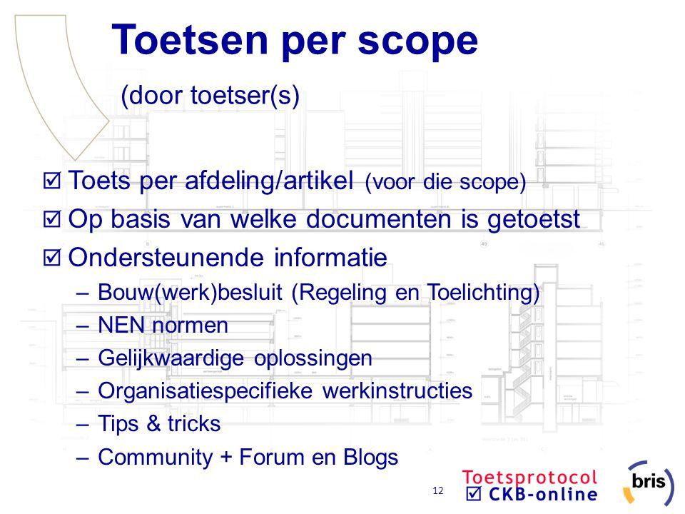 12 Toetsen per scope (door toetser(s) Toets per afdeling/artikel (voor die scope) Op basis van welke documenten is getoetst Ondersteunende informatie