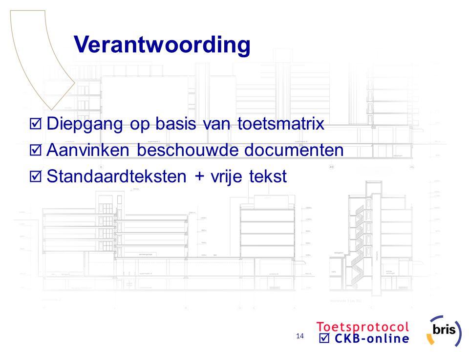 14 Verantwoording Diepgang op basis van toetsmatrix Aanvinken beschouwde documenten Standaardteksten + vrije tekst