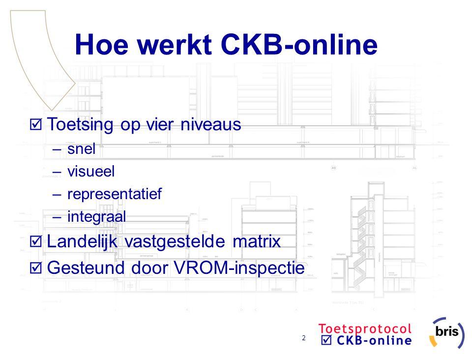 3 Hoe werkt CKB-online Online toetsprogramma Toetsregels voor 32 meest voorkomende bouwaanvragen Toetsregels via gesloten vragen Toetsregels afhankelijk van toetsmatrix Uniforme vastlegging Ontwikkeld in opdracht van VBWTN Ontwikkeling door Zenc, PRC en Demo bv