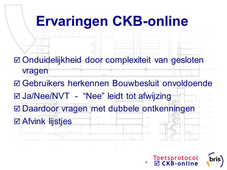 """4 Ervaringen CKB-online Onduidelijkheid door complexiteit van gesloten vragen Gebruikers herkennen Bouwbesluit onvoldoende Ja/Nee/NVT - """"Nee"""" leidt to"""