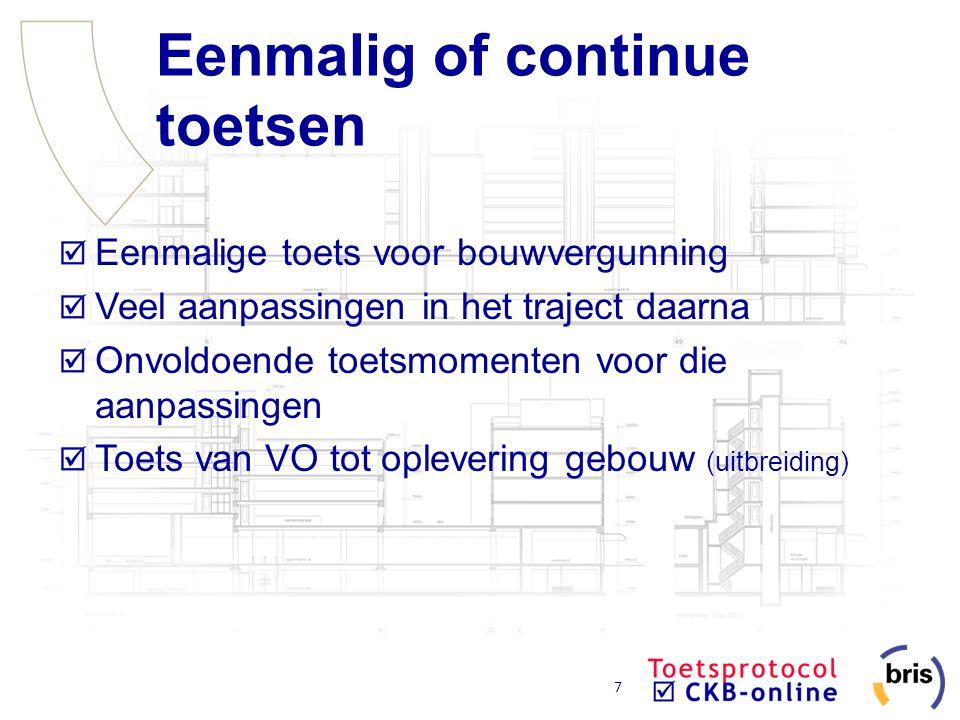 7 Eenmalig of continue toetsen Eenmalige toets voor bouwvergunning Veel aanpassingen in het traject daarna Onvoldoende toetsmomenten voor die aanpassi