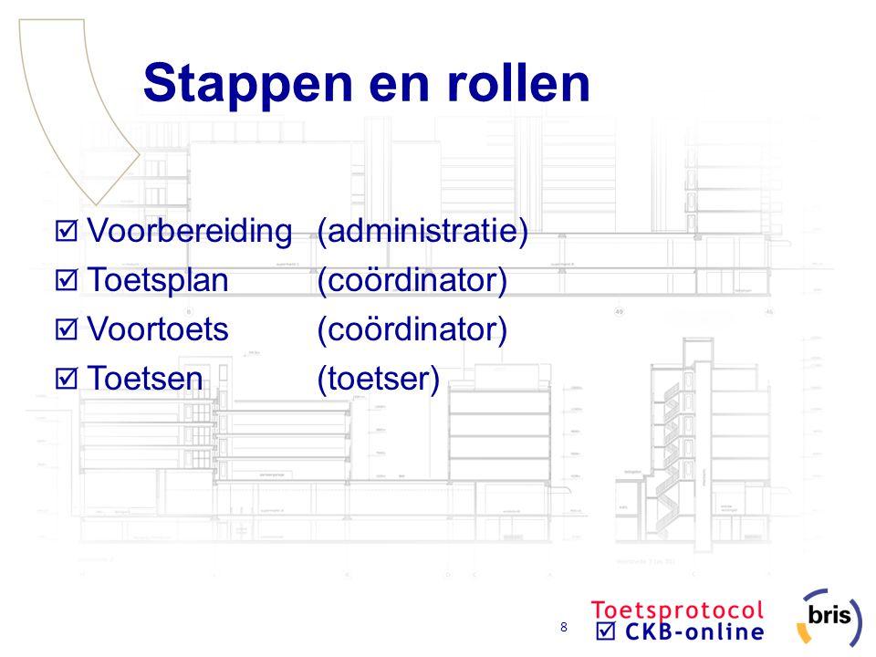 8 Stappen en rollen Voorbereiding(administratie) Toetsplan(coördinator) Voortoets(coördinator) Toetsen(toetser)