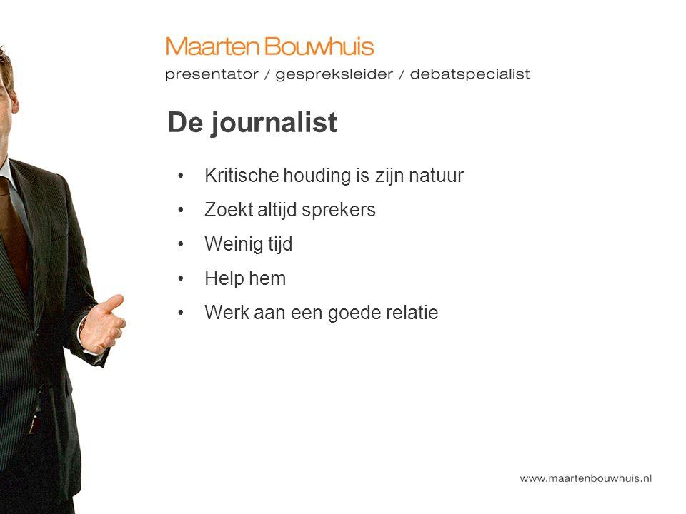 De journalist Kritische houding is zijn natuur Zoekt altijd sprekers Weinig tijd Help hem Werk aan een goede relatie