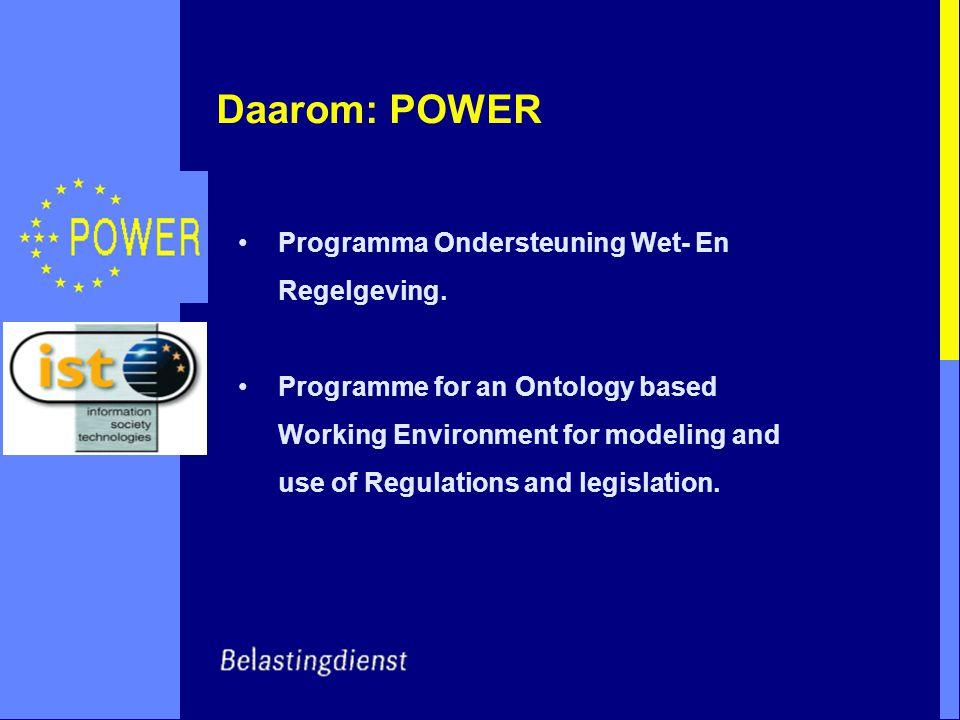 Daarom: POWER Programma Ondersteuning Wet- En Regelgeving.