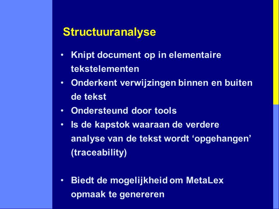Structuuranalyse Knipt document op in elementaire tekstelementen Onderkent verwijzingen binnen en buiten de tekst Ondersteund door tools Is de kapstok waaraan de verdere analyse van de tekst wordt 'opgehangen' (traceability) Biedt de mogelijkheid om MetaLex opmaak te genereren