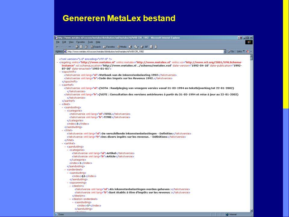 Genereren MetaLex bestand