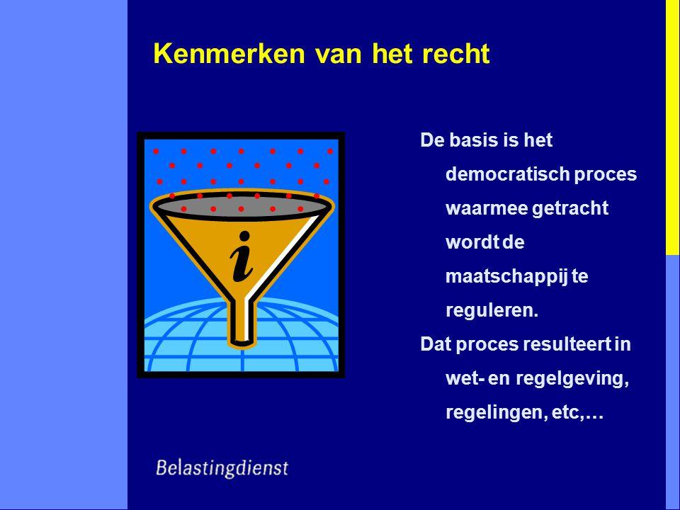 Kenmerken van het recht De basis is het democratisch proces waarmee getracht wordt de maatschappij te reguleren.