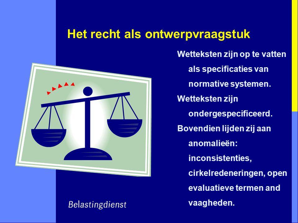 Het recht als ontwerpvraagstuk Wetteksten zijn op te vatten als specificaties van normative systemen.