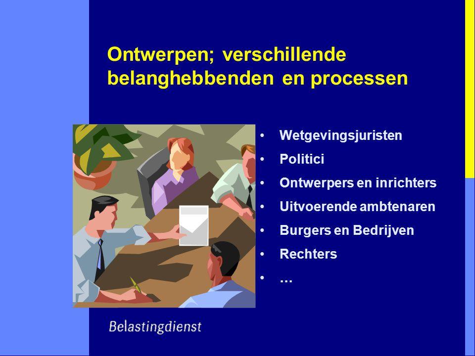 Ontwerpen; verschillende belanghebbenden en processen Wetgevingsjuristen Politici Ontwerpers en inrichters Uitvoerende ambtenaren Burgers en Bedrijven Rechters …