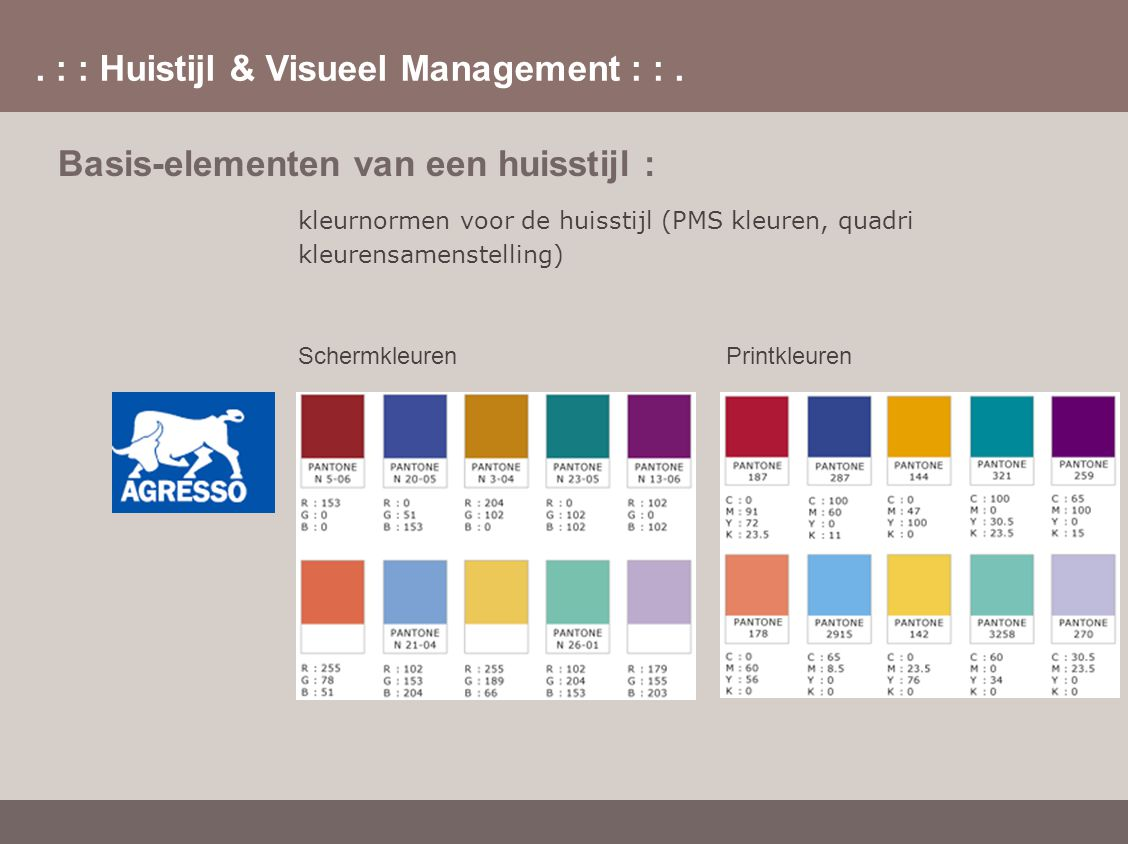 . : : Huistijl & Visueel Management : :. Basis-elementen van een huisstijl : kleurnormen voor de huisstijl (PMS kleuren, quadri kleurensamenstelling)