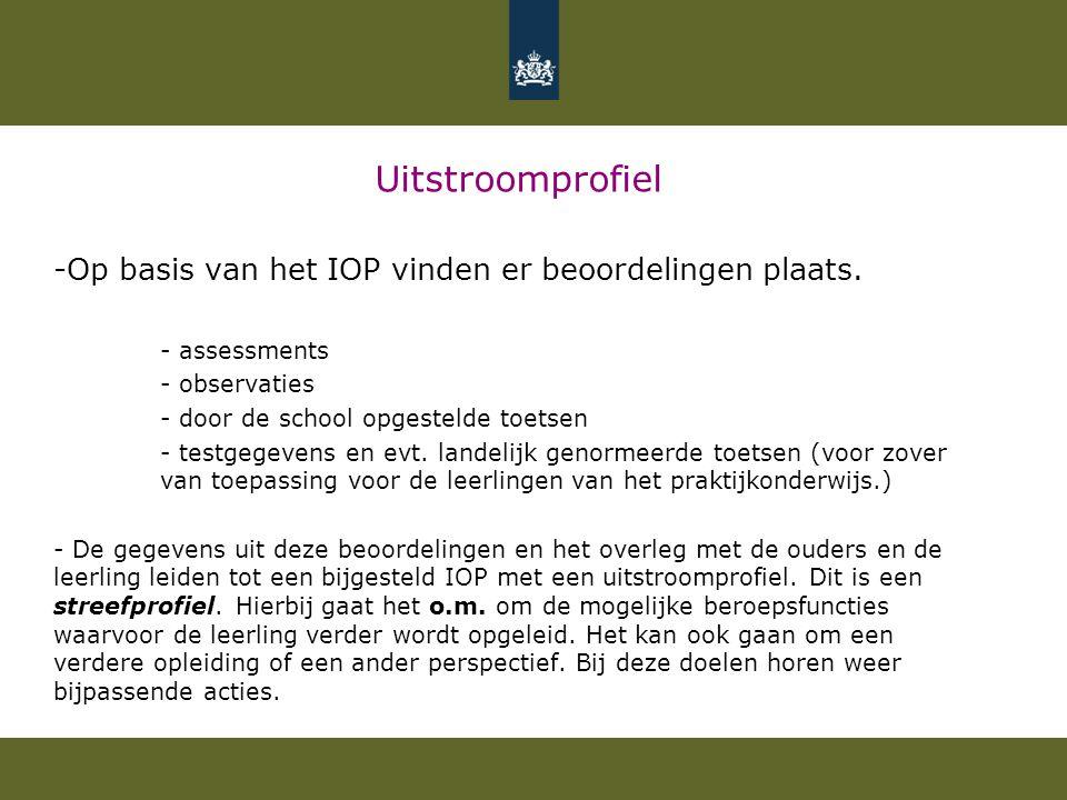 Uitstroomprofiel -Op basis van het IOP vinden er beoordelingen plaats. - assessments - observaties - door de school opgestelde toetsen - testgegevens