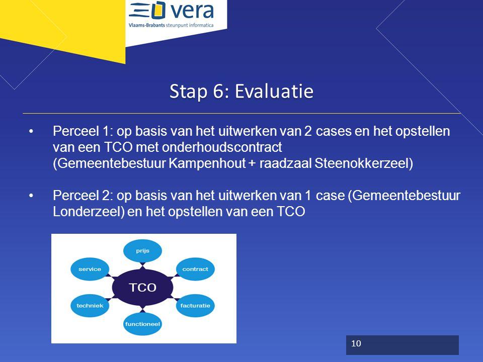 Stap 6: Evaluatie Perceel 1: op basis van het uitwerken van 2 cases en het opstellen van een TCO met onderhoudscontract (Gemeentebestuur Kampenhout + raadzaal Steenokkerzeel) Perceel 2: op basis van het uitwerken van 1 case (Gemeentebestuur Londerzeel) en het opstellen van een TCO 10