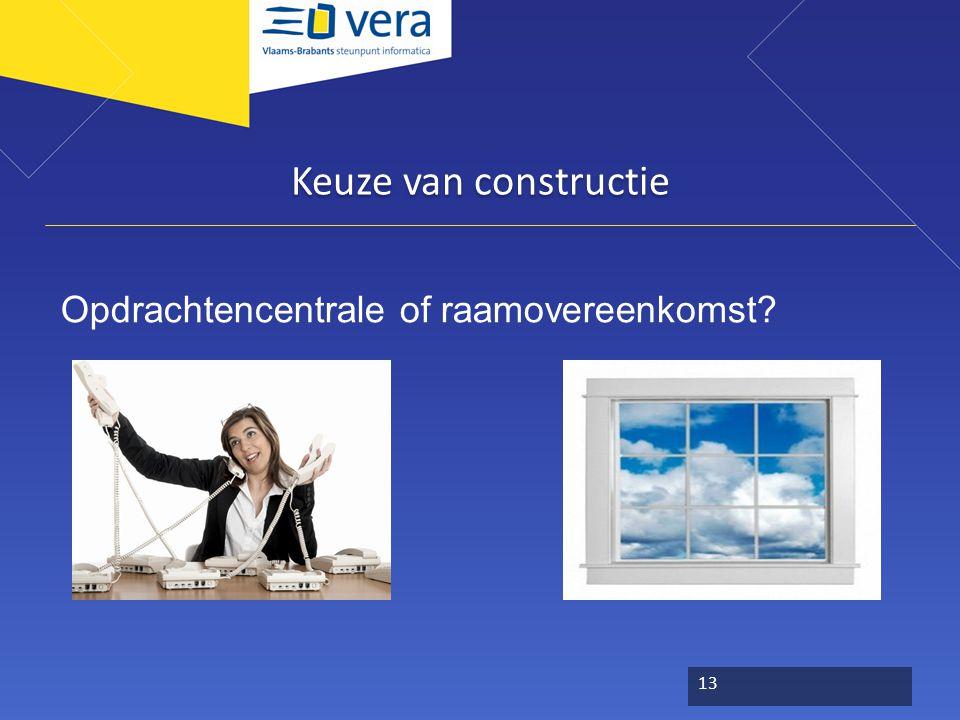 Keuze van constructie Opdrachtencentrale of raamovereenkomst? 13