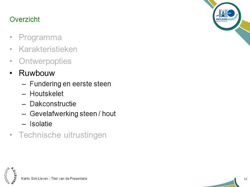 KaHo Sint-Lieven - Titel van de Presentatie 12 Overzicht Programma Karakteristieken Ontwerpopties Ruwbouw –Fundering en eerste steen –Houtskelet –Dakconstructie –Gevelafwerking steen / hout –Isolatie Technische uitrustingen