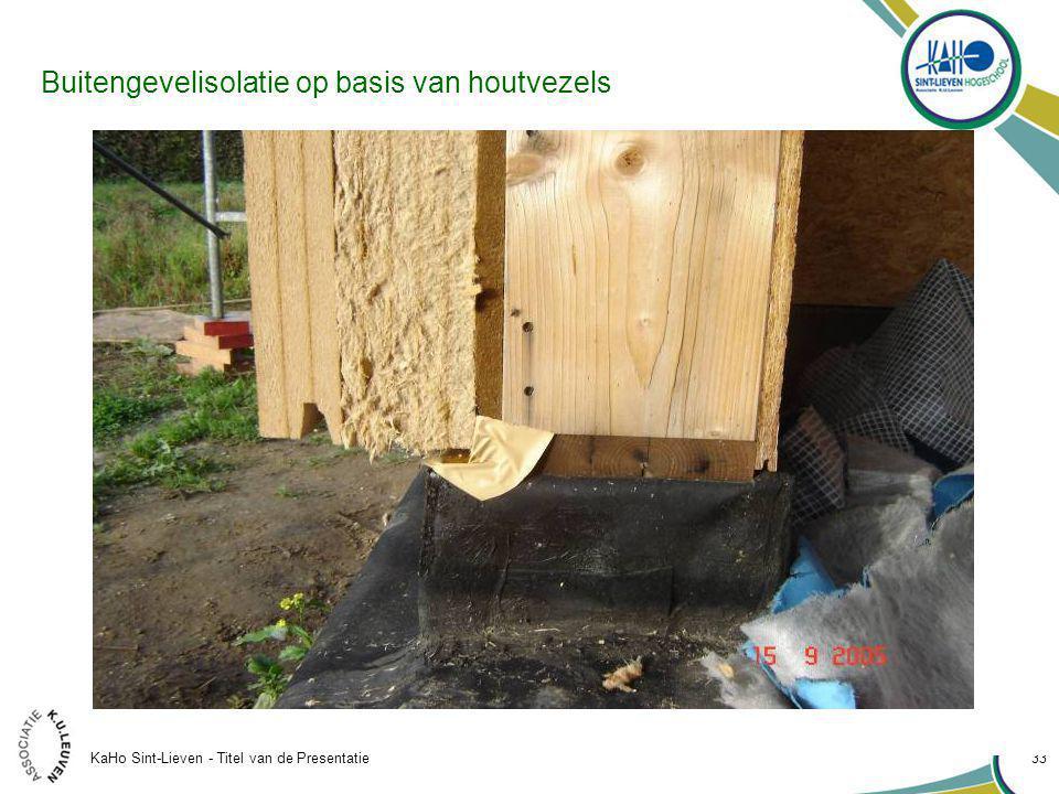 KaHo Sint-Lieven - Titel van de Presentatie 33 Buitengevelisolatie op basis van houtvezels