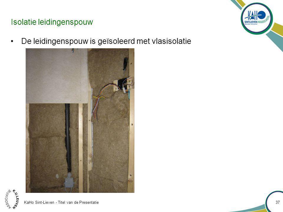 KaHo Sint-Lieven - Titel van de Presentatie 37 Isolatie leidingenspouw De leidingenspouw is geïsoleerd met vlasisolatie