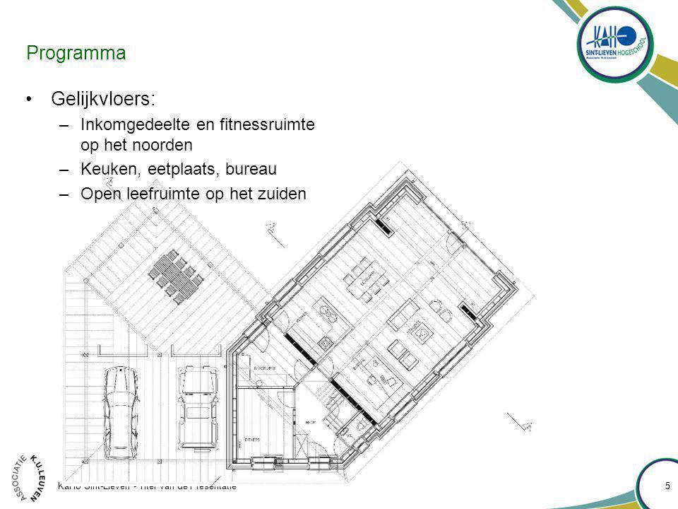 KaHo Sint-Lieven - Titel van de Presentatie 5 Programma Gelijkvloers: –Inkomgedeelte en fitnessruimte op het noorden –Keuken, eetplaats, bureau –Open leefruimte op het zuiden