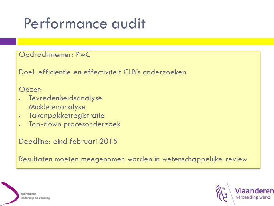 Performance audit Opdrachtnemer: PwC Doel: efficiëntie en effectiviteit CLB's onderzoeken Opzet: - Tevredenheidsanalyse - Middelenanalyse - Takenpakke