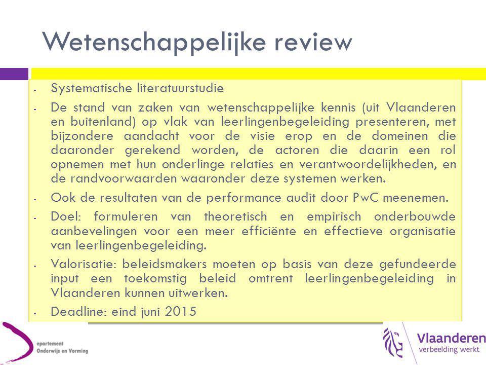 Wetenschappelijke review Vlaams onderzoek dat zeker moet meegenomen worden in de wetenschappelijke review – naast internationaal onderzoek:  Struyf, E., e.a.