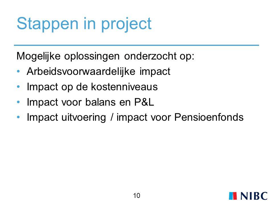 Stappen in project Mogelijke oplossingen onderzocht op: Arbeidsvoorwaardelijke impact Impact op de kostenniveaus Impact voor balans en P&L Impact uitvoering / impact voor Pensioenfonds 10