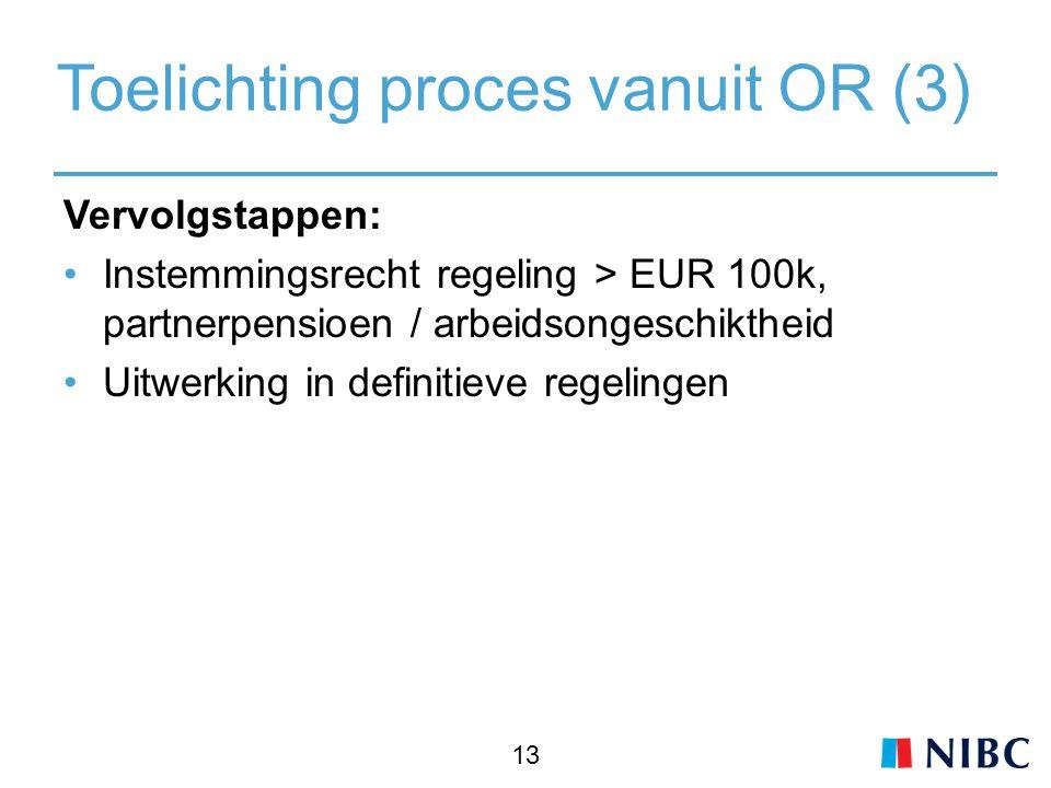 Toelichting proces vanuit OR (3) Vervolgstappen: Instemmingsrecht regeling > EUR 100k, partnerpensioen / arbeidsongeschiktheid Uitwerking in definitieve regelingen 13