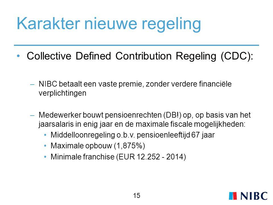 Karakter nieuwe regeling Collective Defined Contribution Regeling (CDC): –NIBC betaalt een vaste premie, zonder verdere financiële verplichtingen –Medewerker bouwt pensioenrechten (DB!) op, op basis van het jaarsalaris in enig jaar en de maximale fiscale mogelijkheden: Middelloonregeling o.b.v.