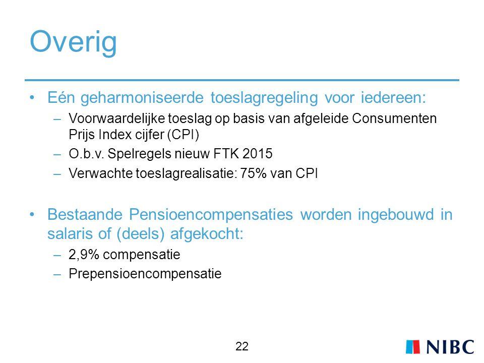 Overig Eén geharmoniseerde toeslagregeling voor iedereen: –Voorwaardelijke toeslag op basis van afgeleide Consumenten Prijs Index cijfer (CPI) –O.b.v.
