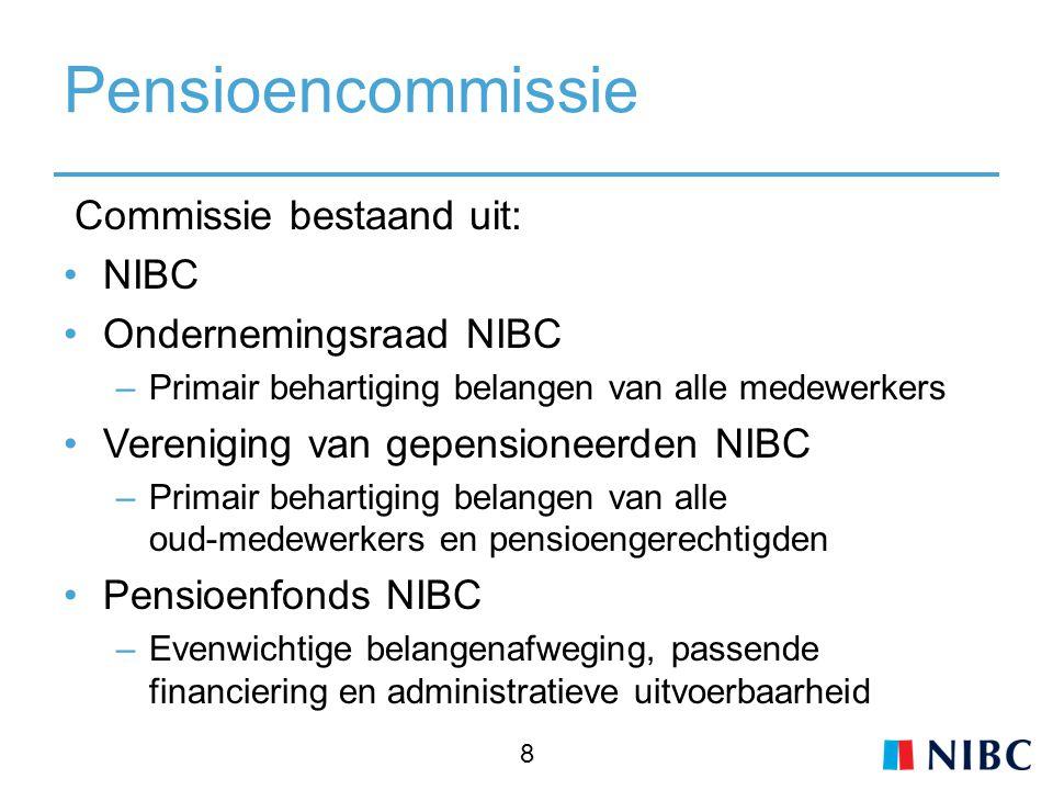 Pensioencommissie Commissie bestaand uit: NIBC Ondernemingsraad NIBC –Primair behartiging belangen van alle medewerkers Vereniging van gepensioneerden NIBC –Primair behartiging belangen van alle oud-medewerkers en pensioengerechtigden Pensioenfonds NIBC –Evenwichtige belangenafweging, passende financiering en administratieve uitvoerbaarheid 8