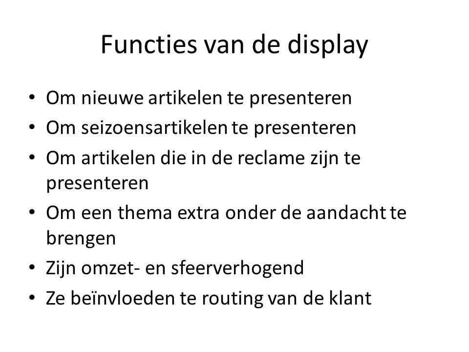 Functies van de display Om nieuwe artikelen te presenteren Om seizoensartikelen te presenteren Om artikelen die in de reclame zijn te presenteren Om e
