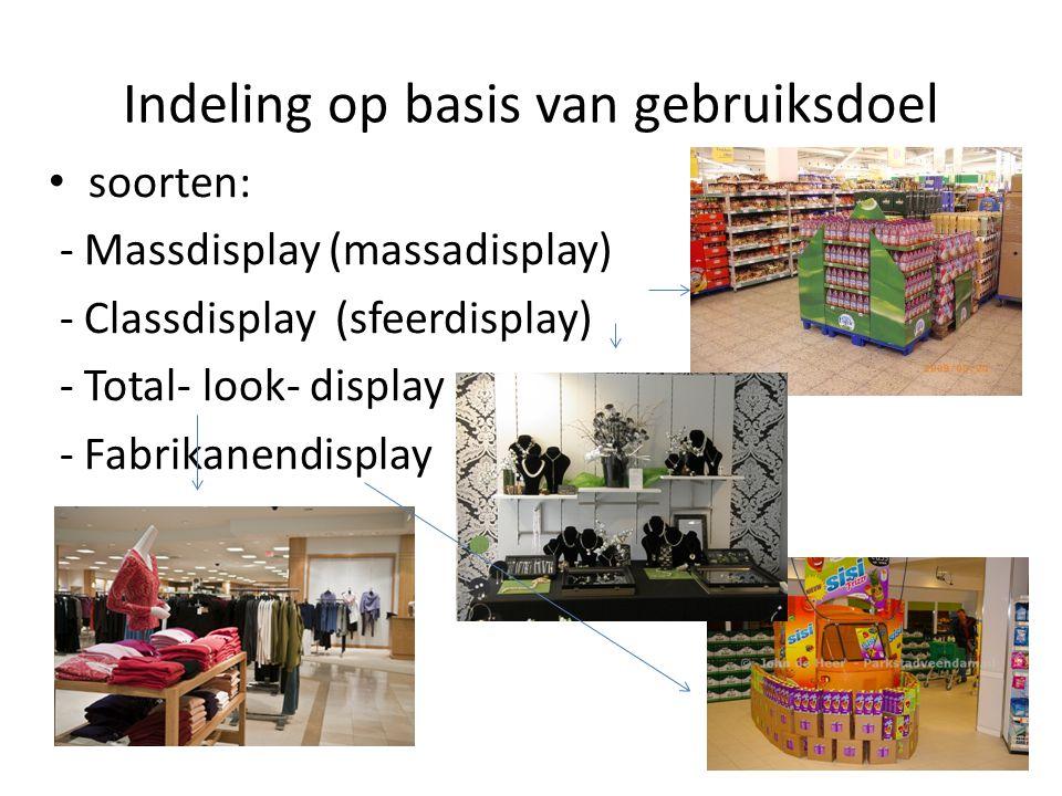 Indeling op basis van gebruiksdoel soorten: - Massdisplay (massadisplay) - Classdisplay (sfeerdisplay) - Total- look- display - Fabrikanendisplay