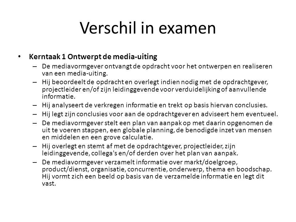 Verschil in examen Kerntaak 1 Ontwerpt de media-uiting – De mediavormgever ontvangt de opdracht voor het ontwerpen en realiseren van een media-uiting.