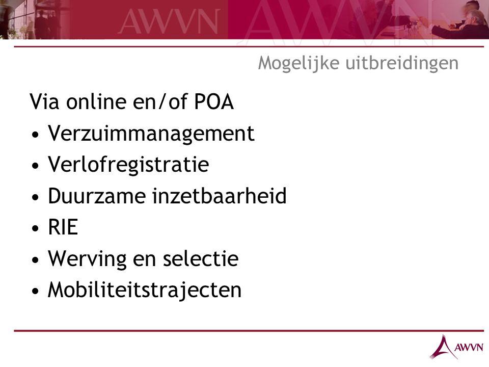 Mogelijke uitbreidingen Via online en/of POA Verzuimmanagement Verlofregistratie Duurzame inzetbaarheid RIE Werving en selectie Mobiliteitstrajecten