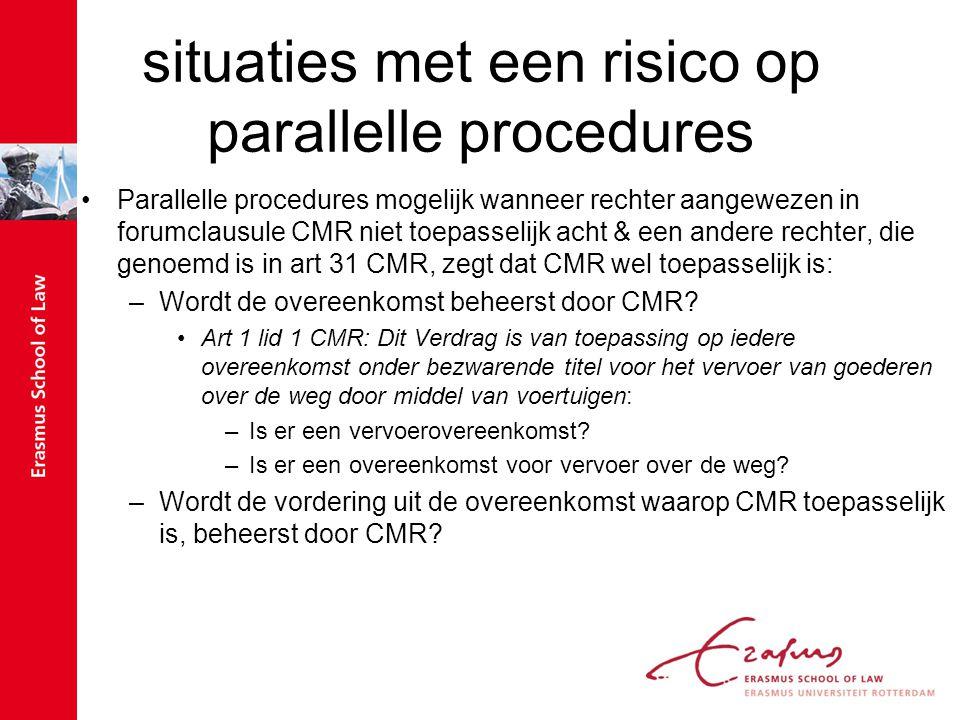 situaties met een risico op parallelle procedures Parallelle procedures mogelijk wanneer rechter aangewezen in forumclausule CMR niet toepasselijk ach