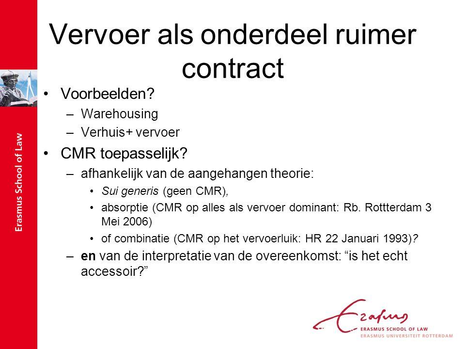 Vervoer als onderdeel ruimer contract Voorbeelden? –Warehousing –Verhuis+ vervoer CMR toepasselijk? –afhankelijk van de aangehangen theorie: Sui gener