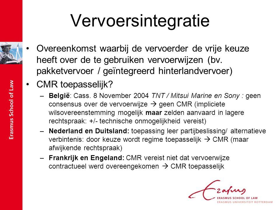 Vervoersintegratie Overeenkomst waarbij de vervoerder de vrije keuze heeft over de te gebruiken vervoerwijzen (bv. pakketvervoer / geïntegreerd hinter