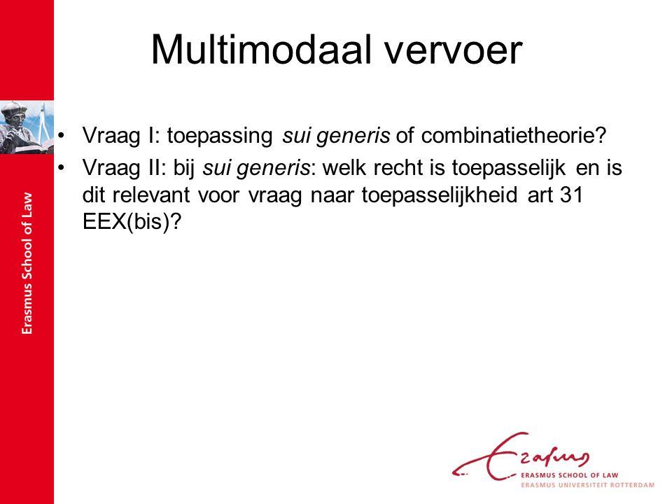 Multimodaal vervoer Vraag I: toepassing sui generis of combinatietheorie? Vraag II: bij sui generis: welk recht is toepasselijk en is dit relevant voo