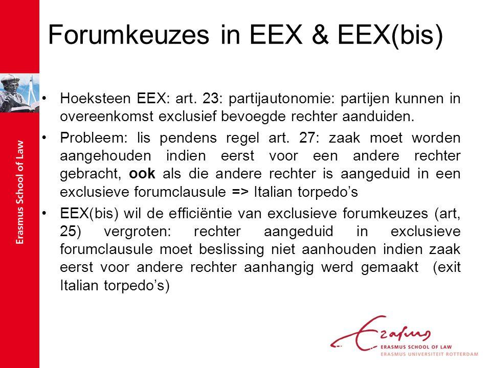 Forumkeuzes in EEX & EEX(bis) Hoeksteen EEX: art. 23: partijautonomie: partijen kunnen in overeenkomst exclusief bevoegde rechter aanduiden. Probleem: