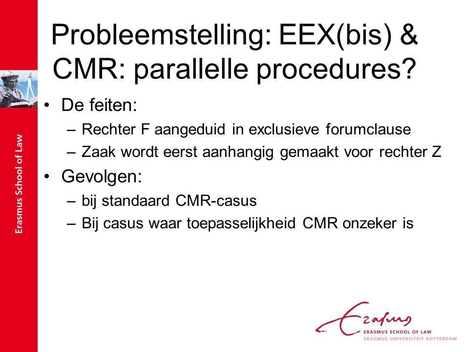 Probleemstelling: EEX(bis) & CMR: parallelle procedures? De feiten: –Rechter F aangeduid in exclusieve forumclause –Zaak wordt eerst aanhangig gemaakt