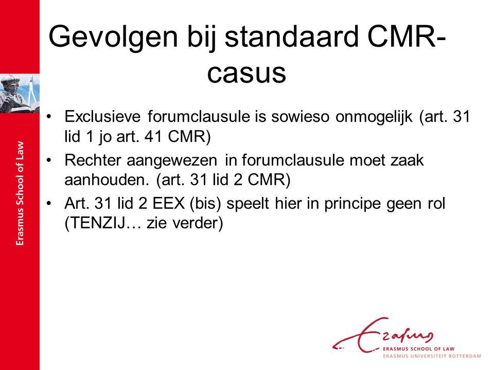 Gevolgen bij standaard CMR- casus Exclusieve forumclausule is sowieso onmogelijk (art. 31 lid 1 jo art. 41 CMR) Rechter aangewezen in forumclausule mo