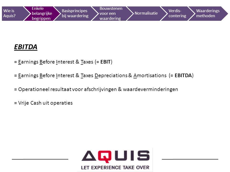 EBITDA = Earnings Before Interest & Taxes (= EBIT) = Earnings Before Interest & Taxes Depreciations & Amortisations (= EBITDA) = Operationeel resultaa